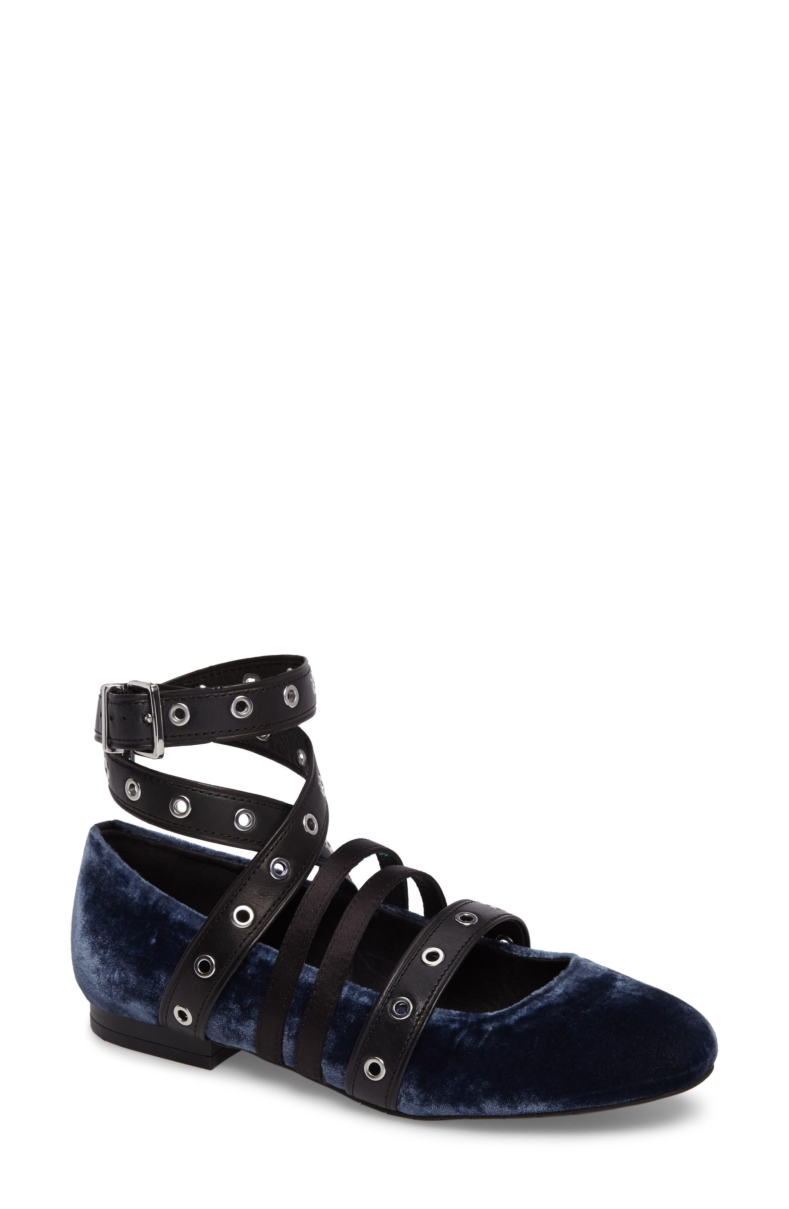 Kenneth Cole New York Wade Grommet Ankle Wrap Flat (Women)