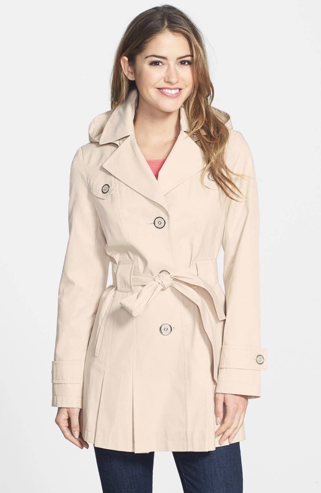 Main Image - Via Spiga 'Scarpa' Single Breasted Hooded Trench (Regular & Petite)