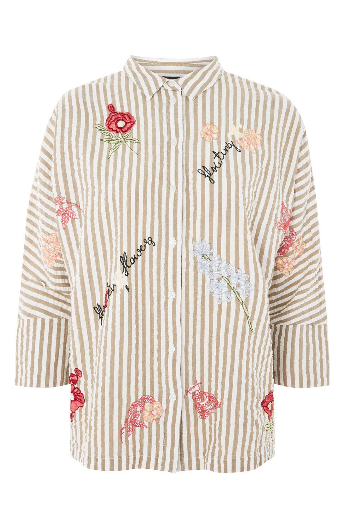 Topshop Embroidered Seersucker Shirt