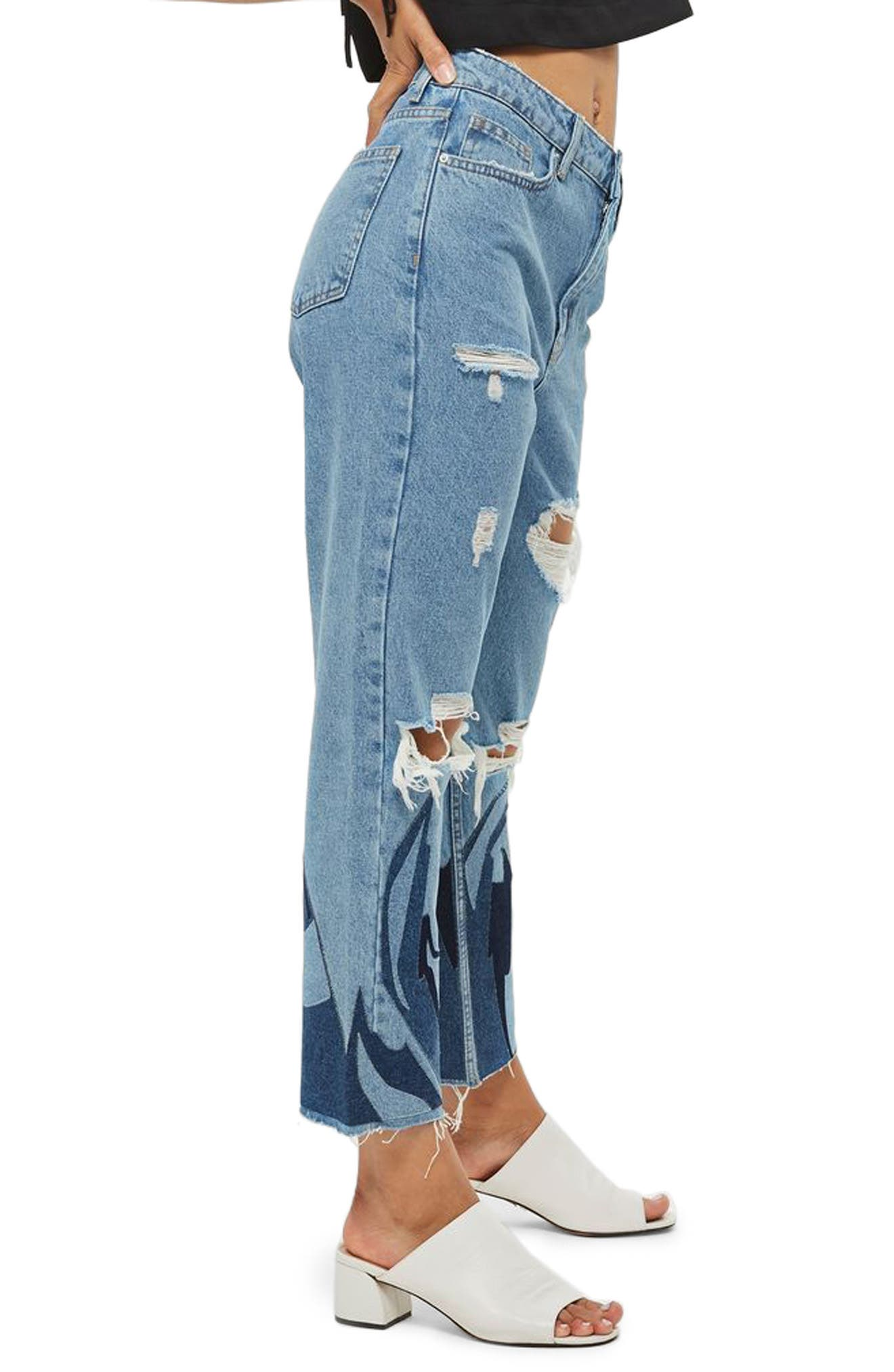 Topshop Flame Ripped Mom Jeans
