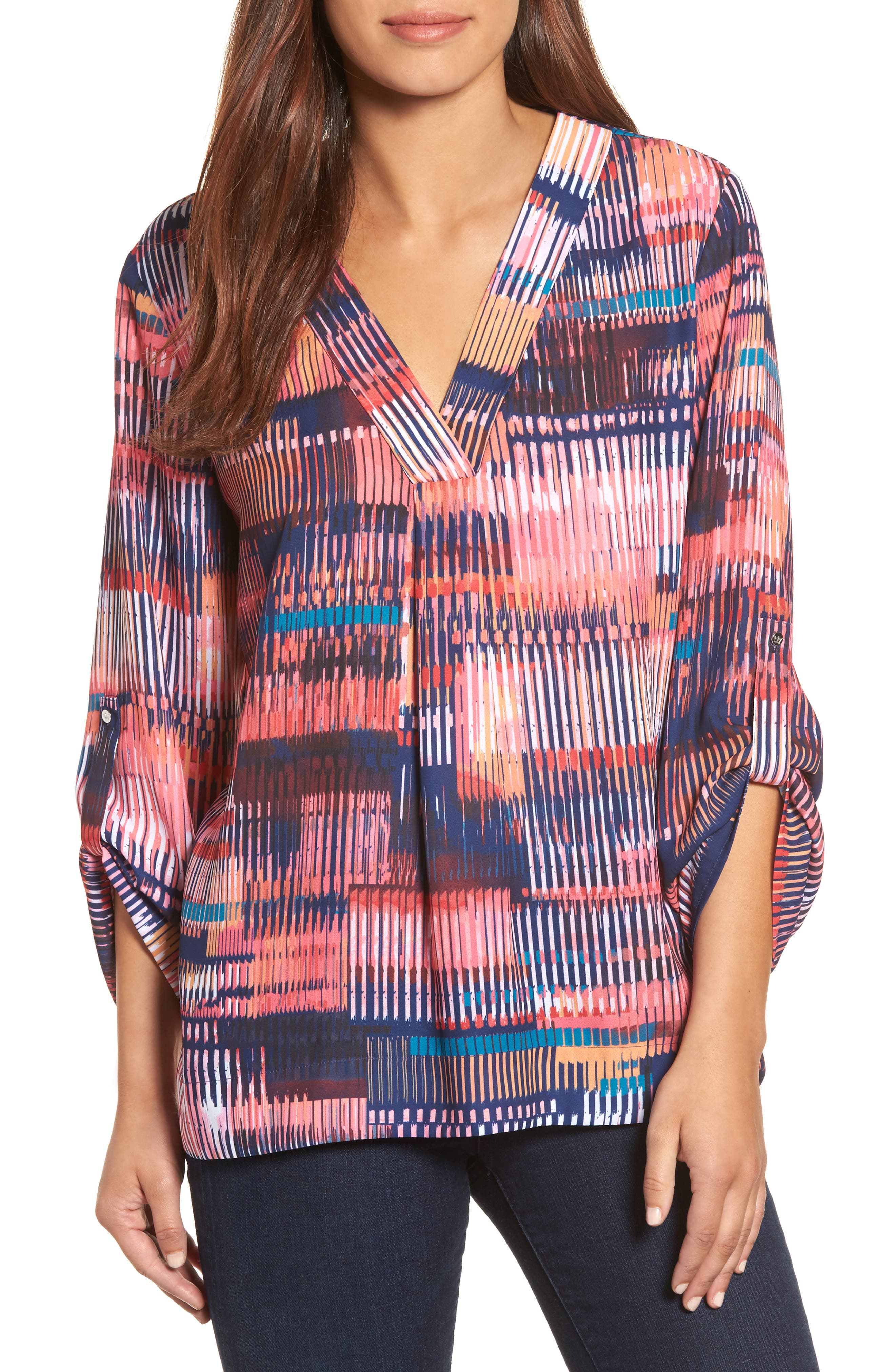 Chaus Colorful Canvas Roll Sleeve Blouse