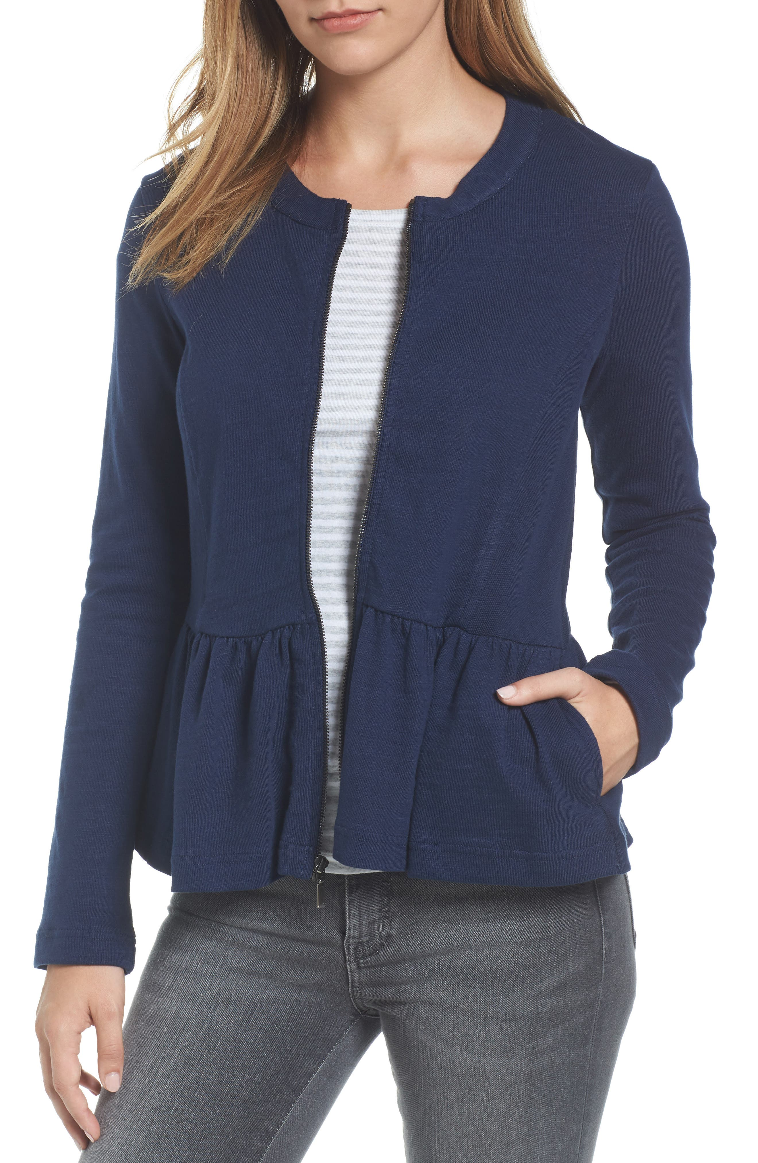 Caslon® Knit Peplum Jacket (Regular & Petite)