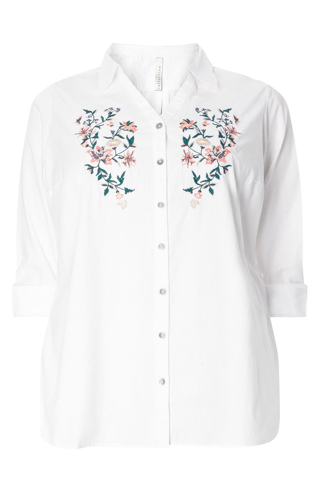 Evans Floral Embroidered Poplin Shirt (Plus Size)
