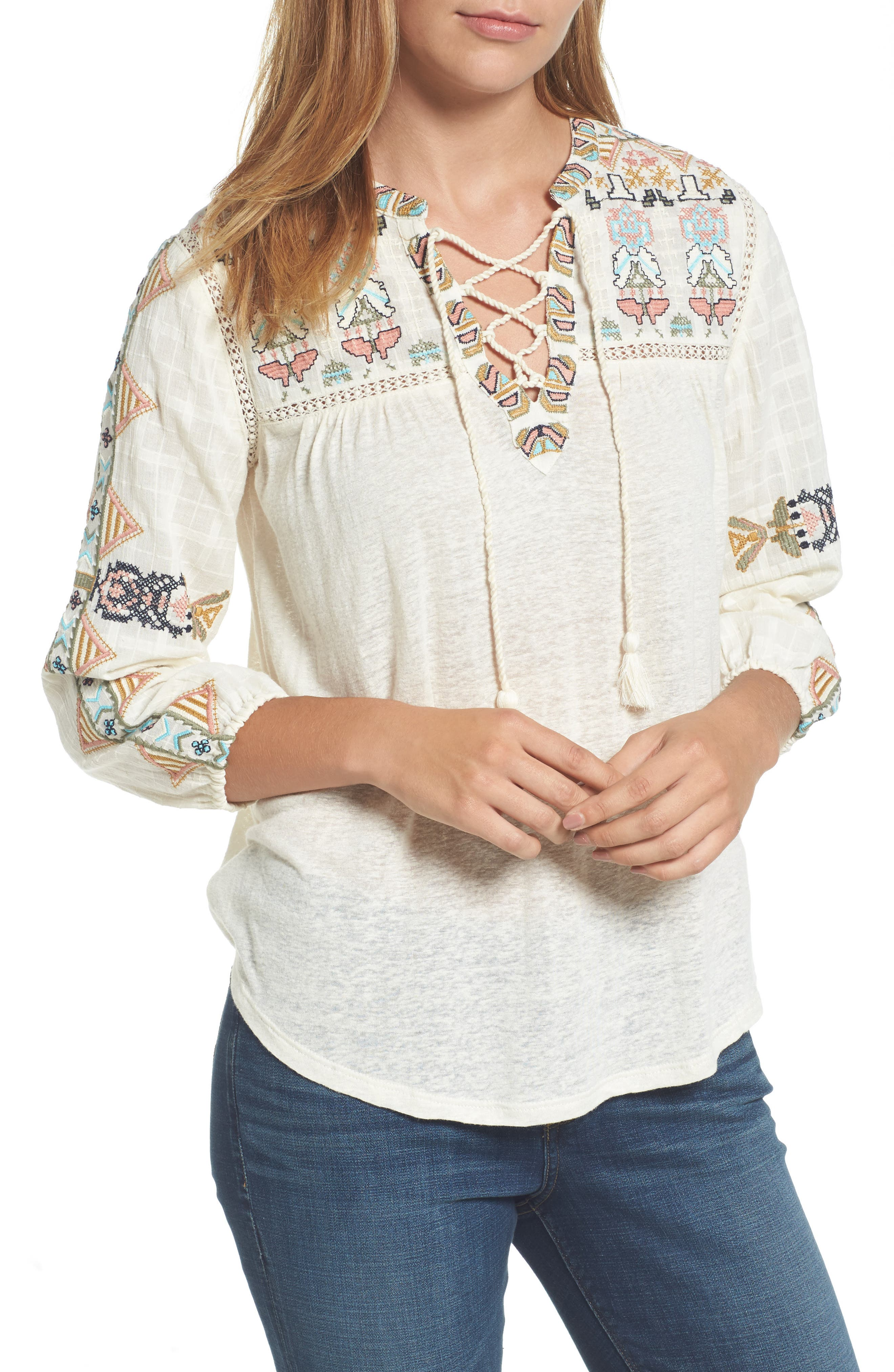 Lucky Brand Embroidered Lace-Up Top