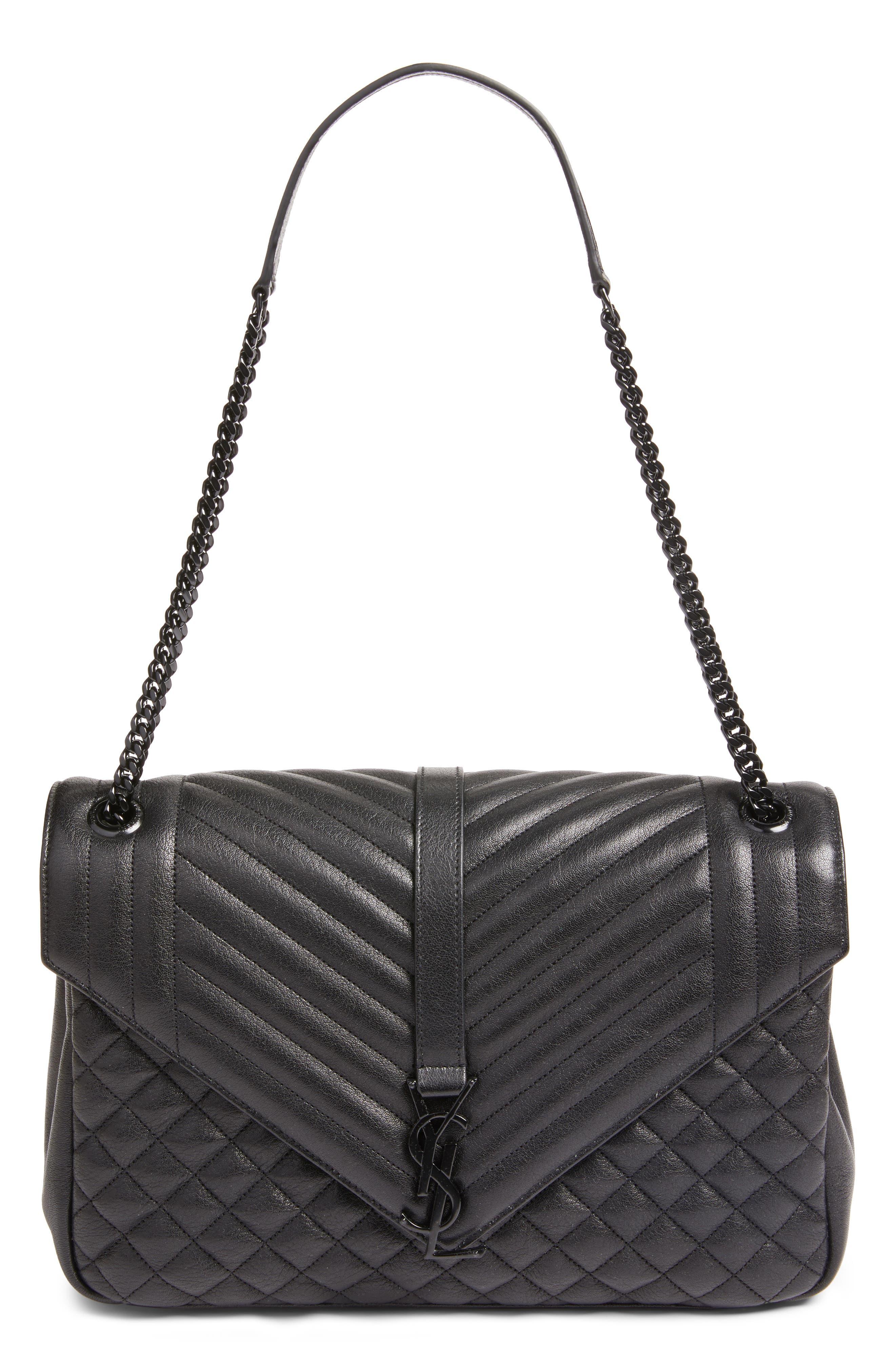 Saint Laurent Large Monogramme Matelassé Calfskin Leather Shoulder Bag