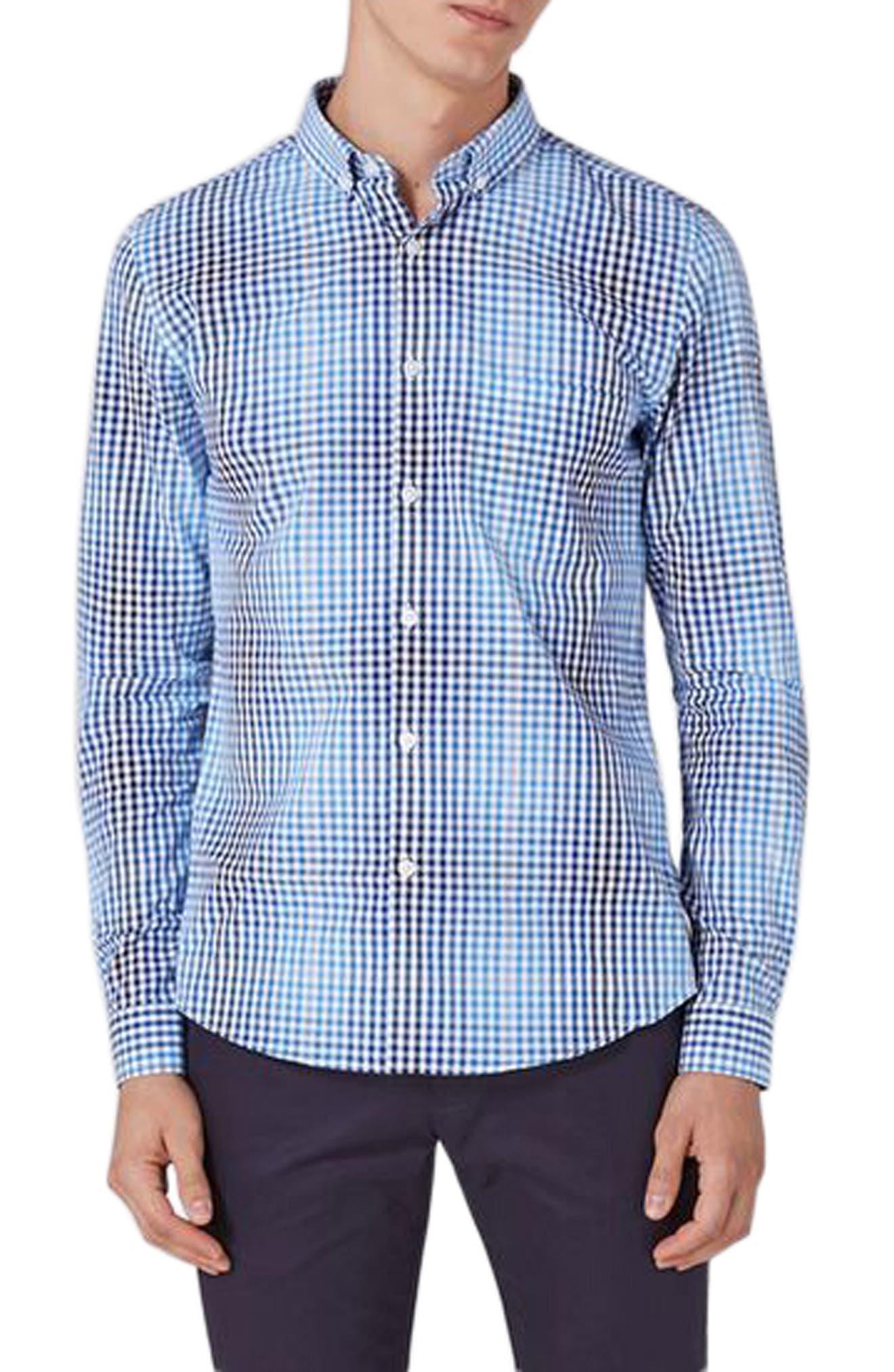 Topman Ombré Gingham Woven Shirt