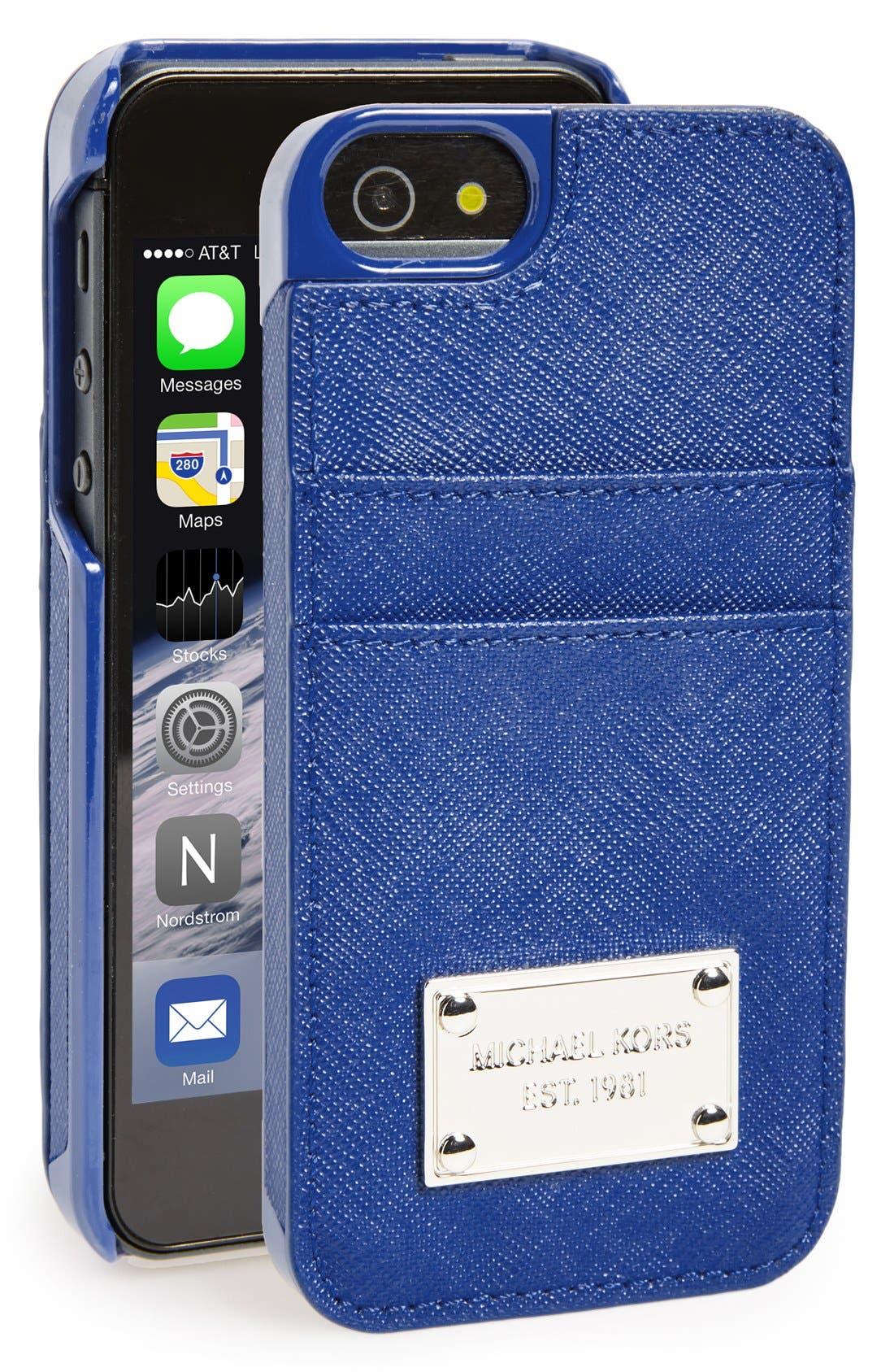 Alternate Image 1 Selected - MICHAEL Michael Kors Card Holder iPhone 5 & 5s Case