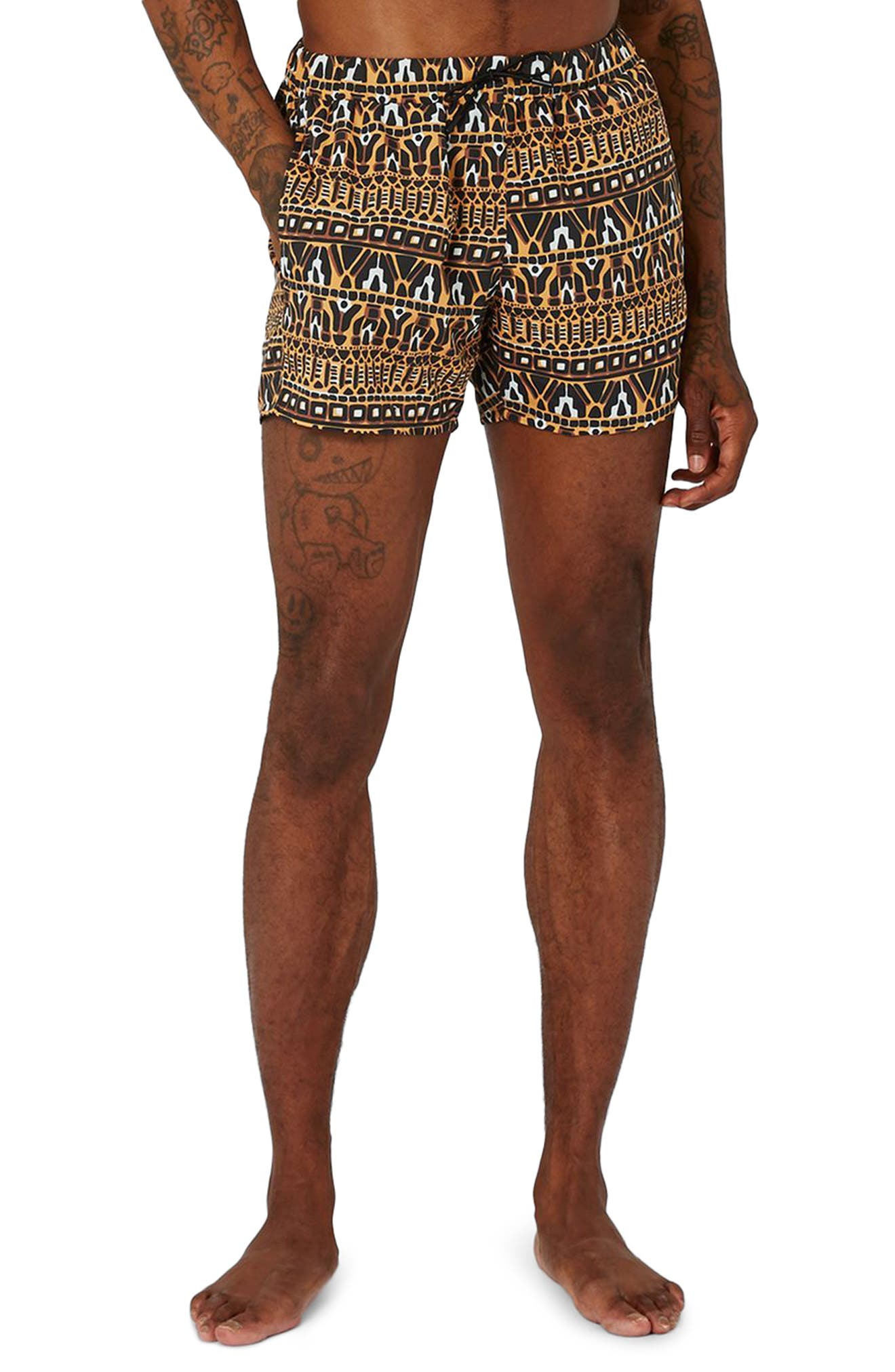 Topman Geo Print Swim Trunks
