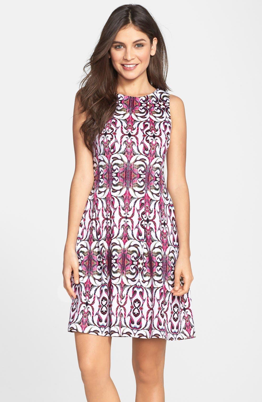 Main Image - Gabby Skye Print Scuba Fit & Flare Dress