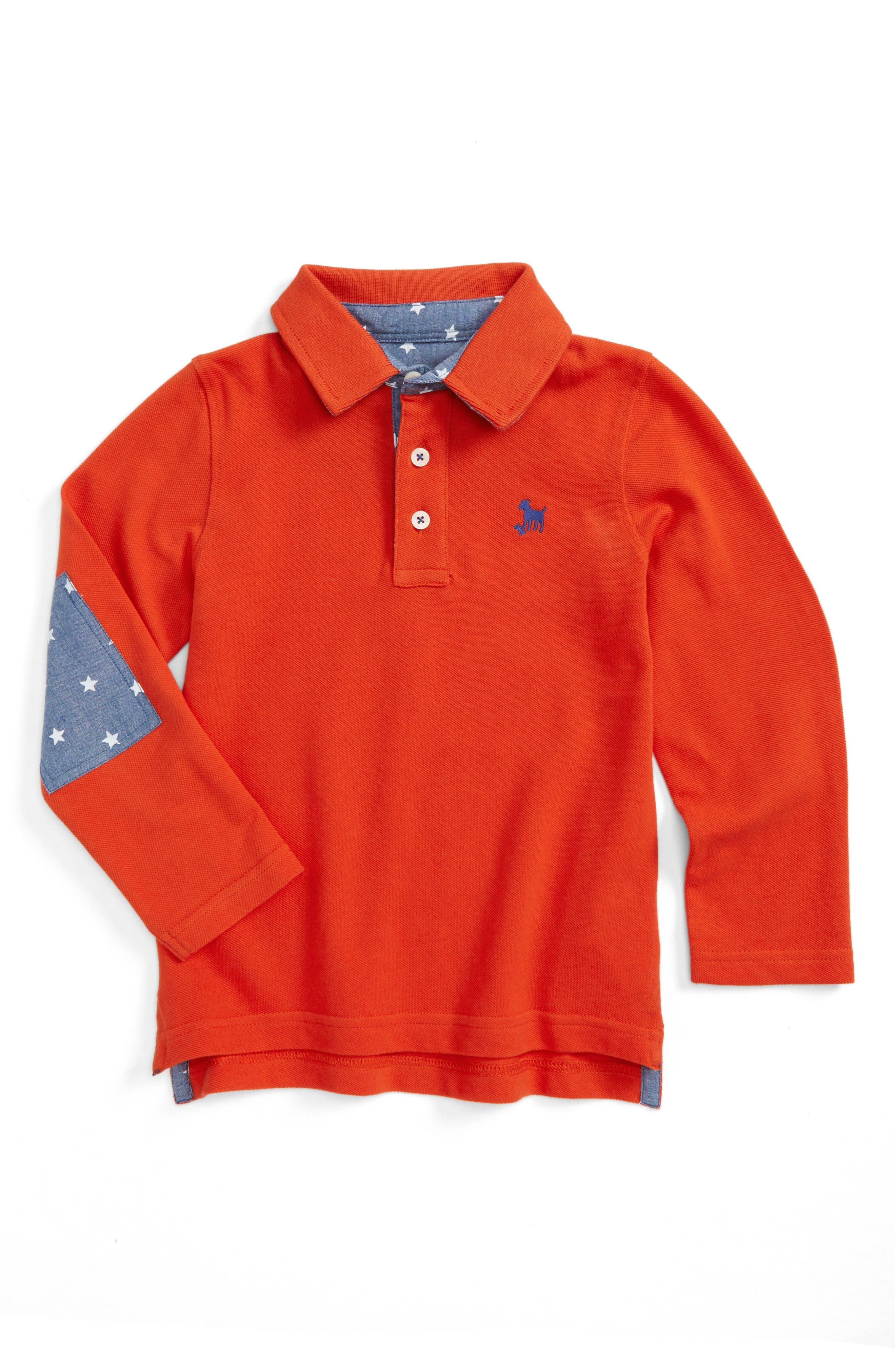 Mini Boden Elbow Patch Long Sleeve Polo (Toddler Boys, Little Boys & Big Boys)