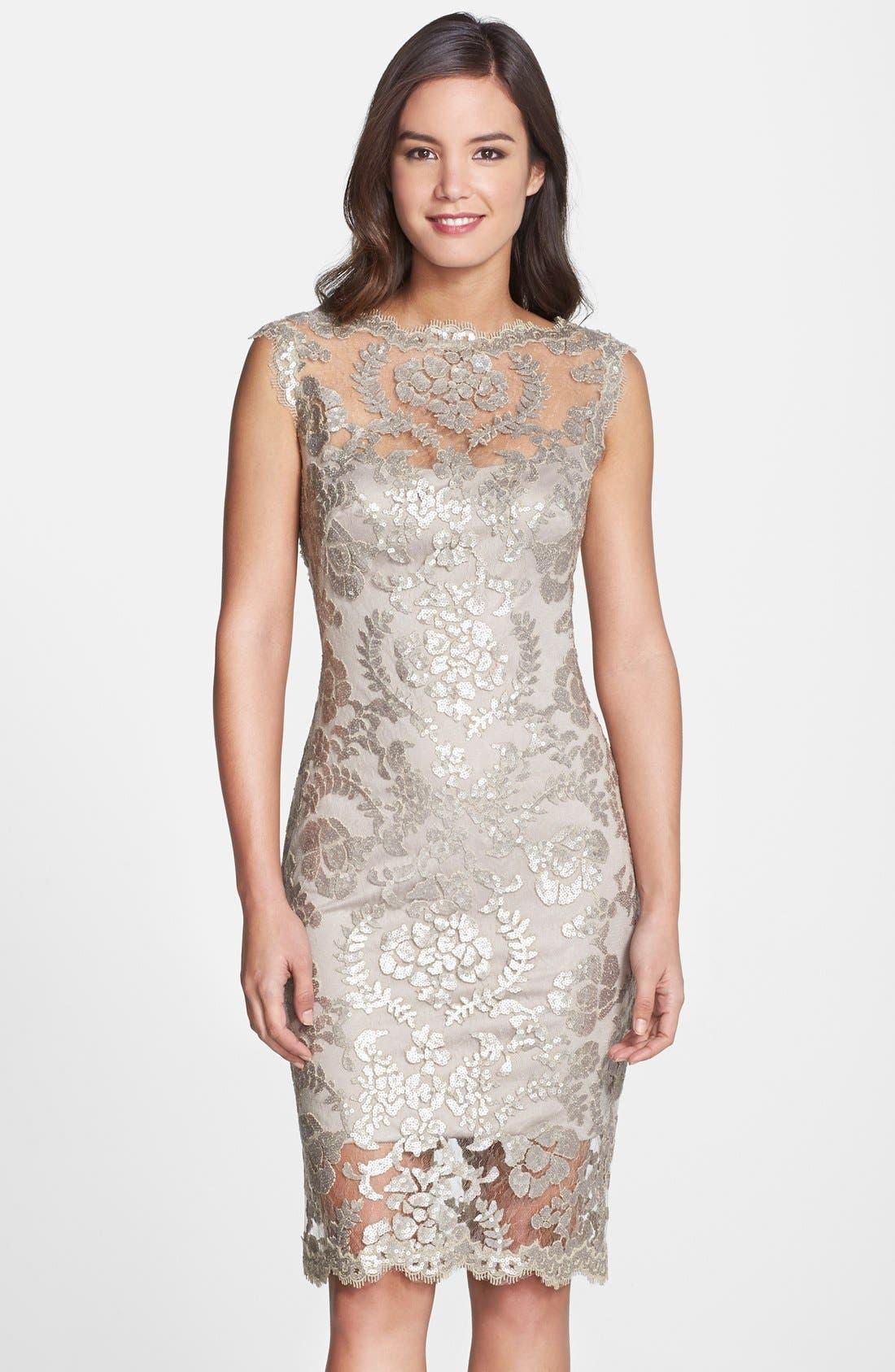 Alternate Image 1 Selected - Tadashi Shoji Sequin Illusion Lace Dress (Regular & Petite)