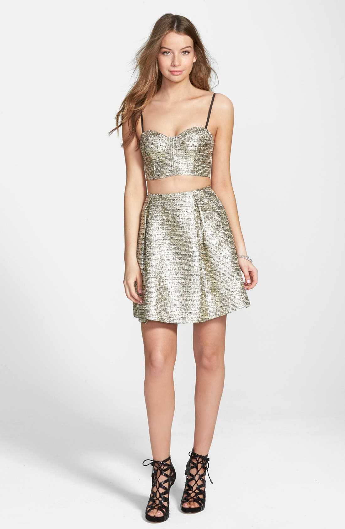 Main Image - a. drea 'Maddie' Textured Metallic Two-Piece Dress (Juniors)