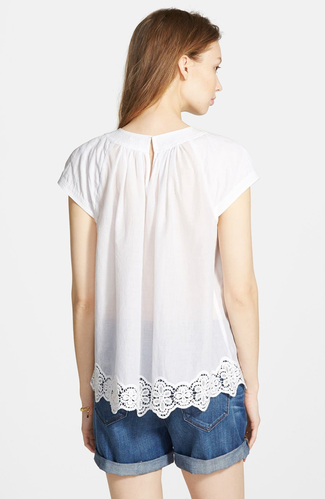 Alternate Image 3  - Madewell Eyelet Hem Peasant Top