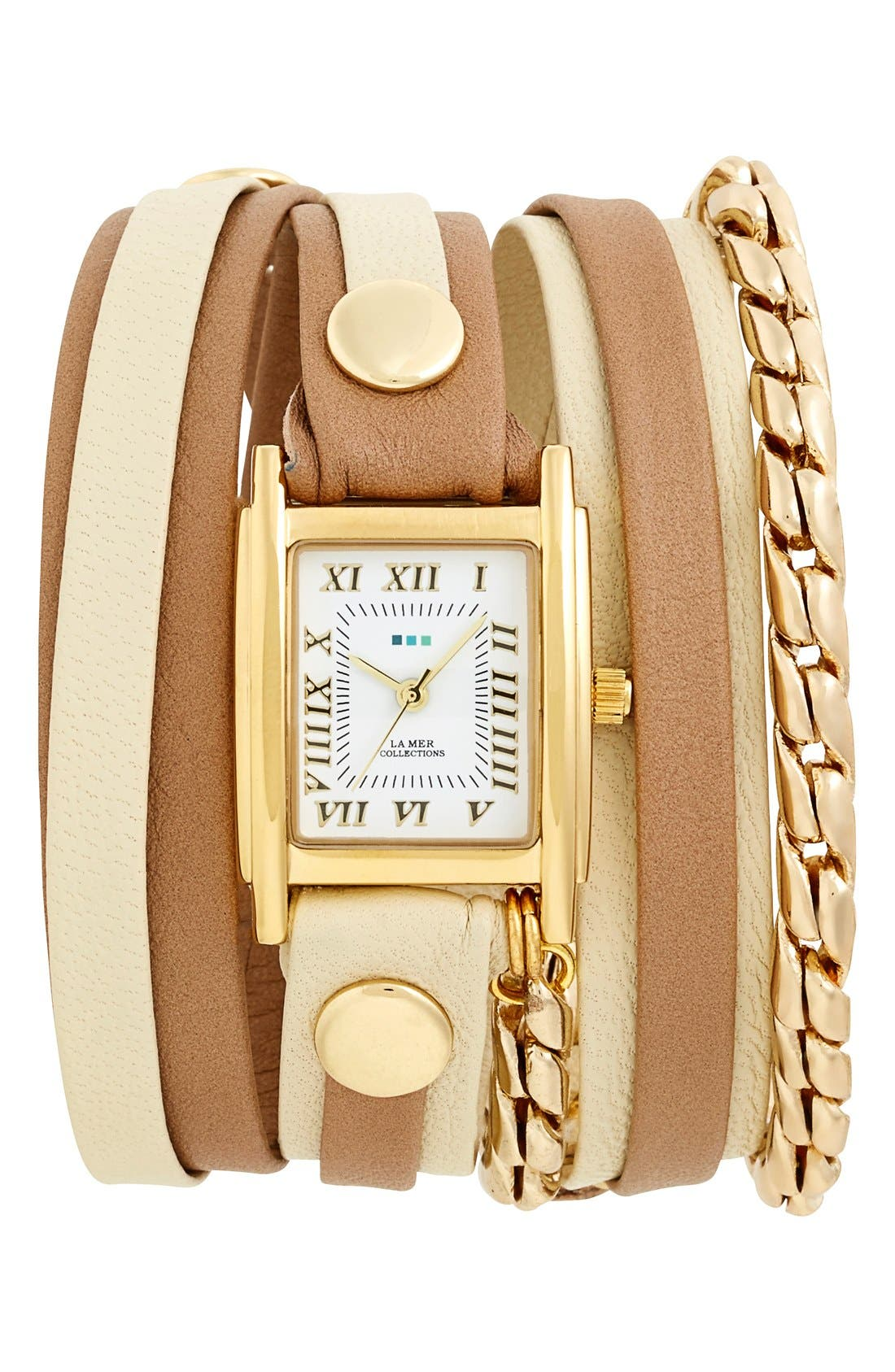 LA MER COLLECTIONS Leather & Chain Wrap Watch,