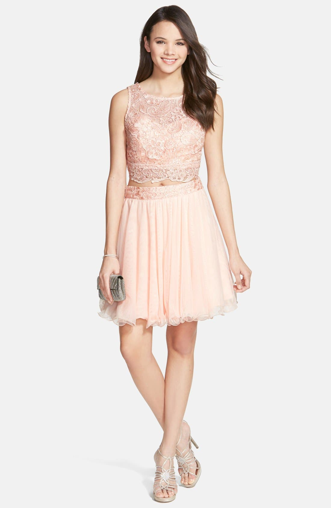 Alternate Image 1 Selected - As U Wish 'Rosie' Two-Piece Lace Dress (Juniors)