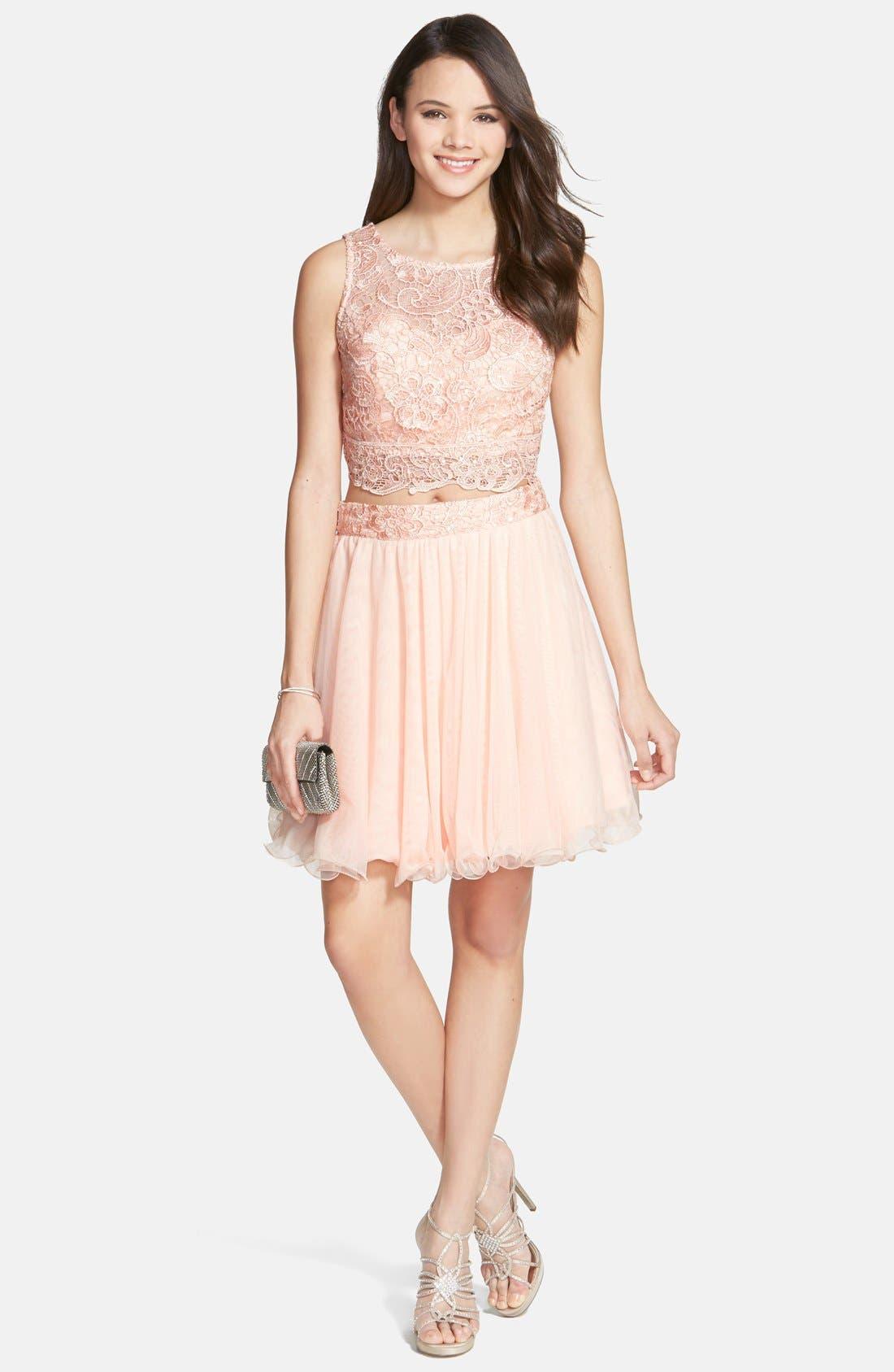 Main Image - As U Wish 'Rosie' Two-Piece Lace Dress (Juniors)