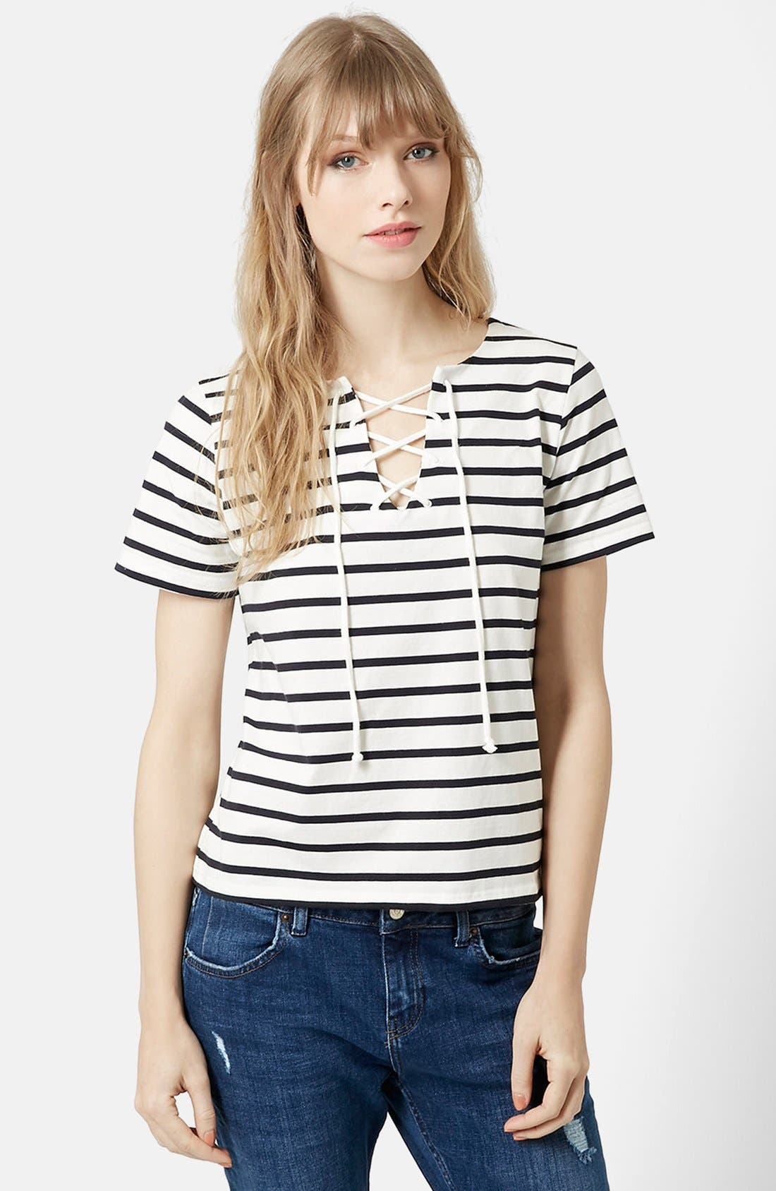 Alternate Image 1 Selected - Topshop Lace-Up Nautical Top