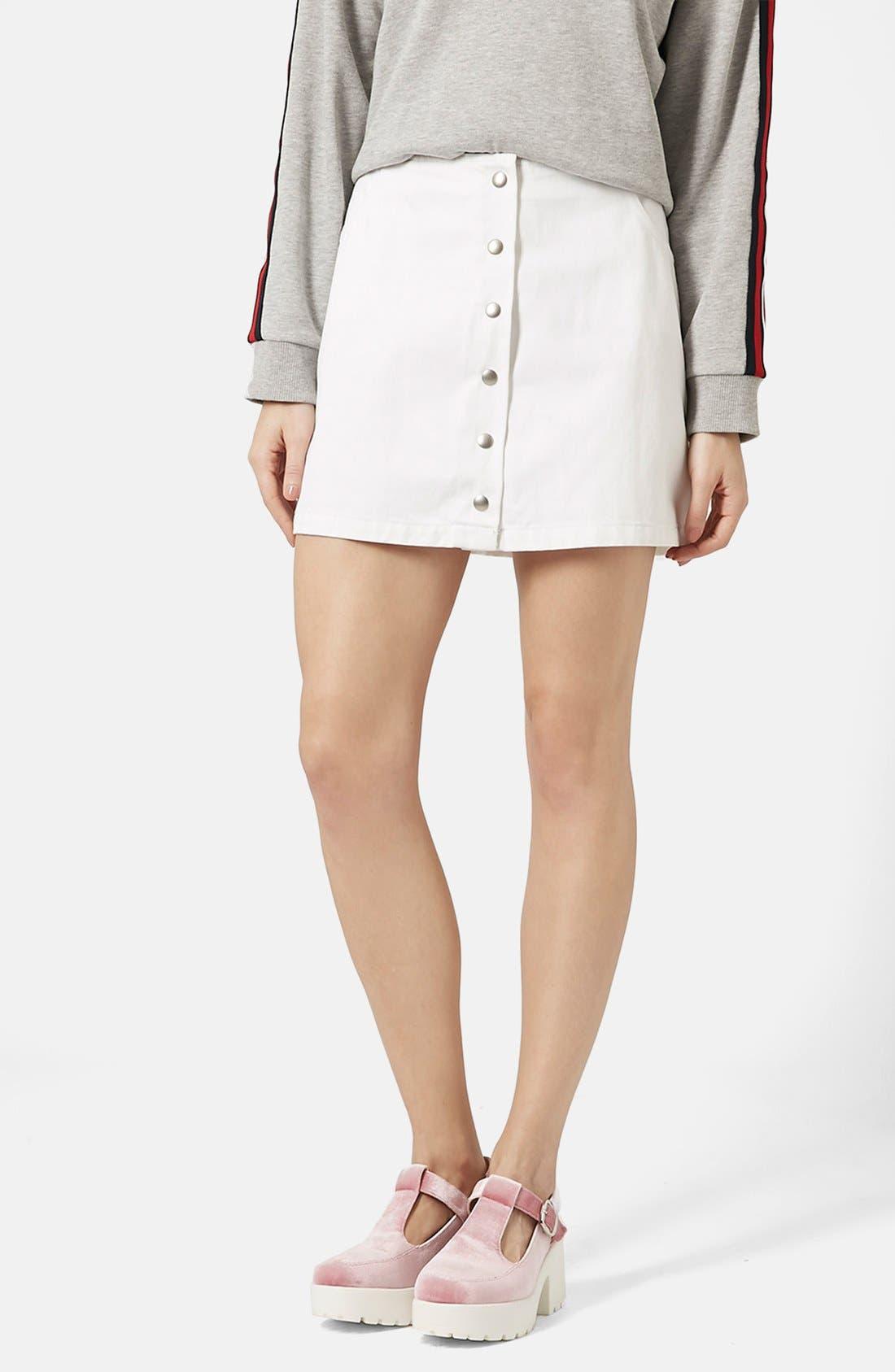 Main Image - Topshop 'Popper' Denim Miniskirt (Brit Pop-In)