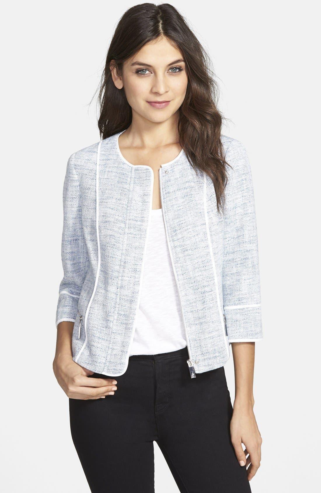 Main Image - Vince Camuto Contrast Trim Collarless Tweed Jacket (Regular & Petite)