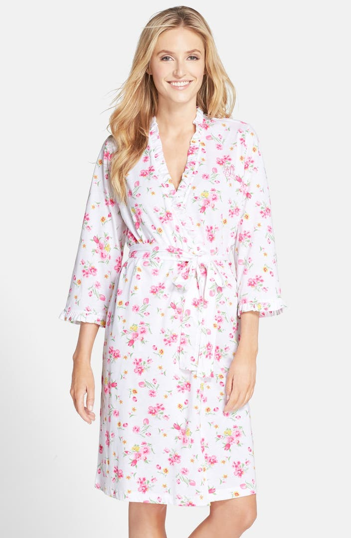 lauren ralph lauren floral print cotton blend robe nordstrom. Black Bedroom Furniture Sets. Home Design Ideas