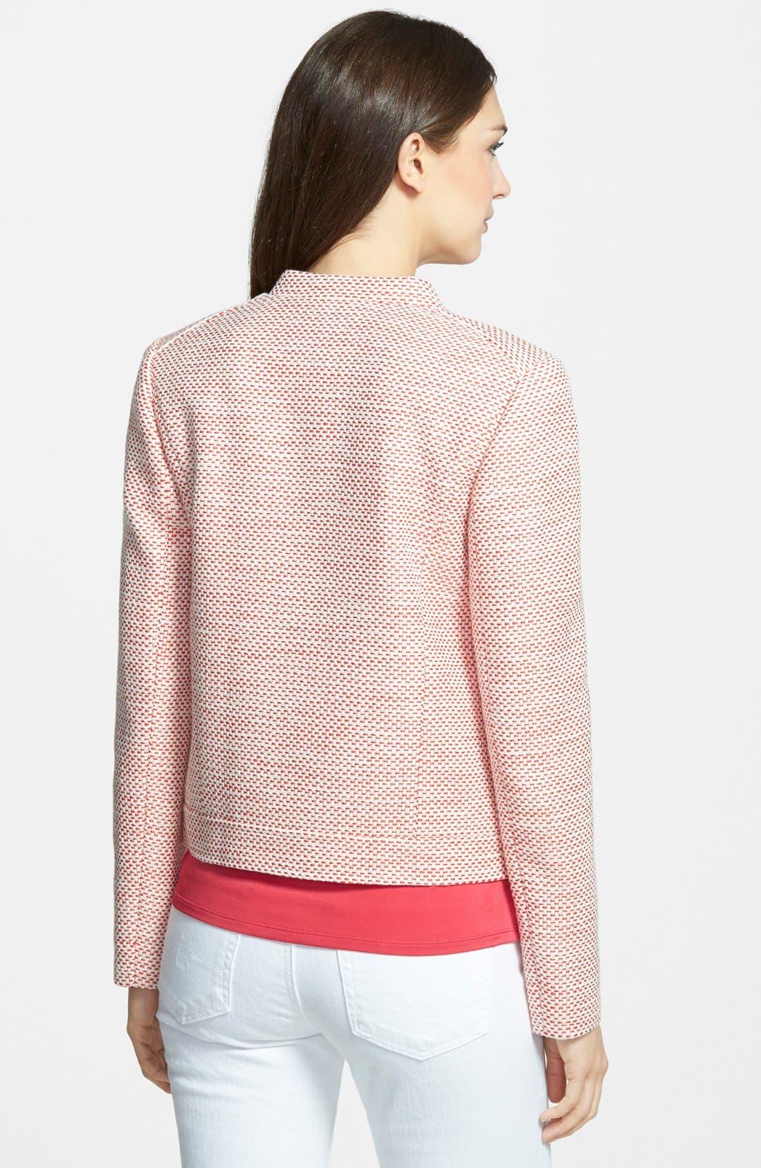 Alternate Image 2  - Classiques Entier® Tweed Front Zip Jacket (Regular & Petite)