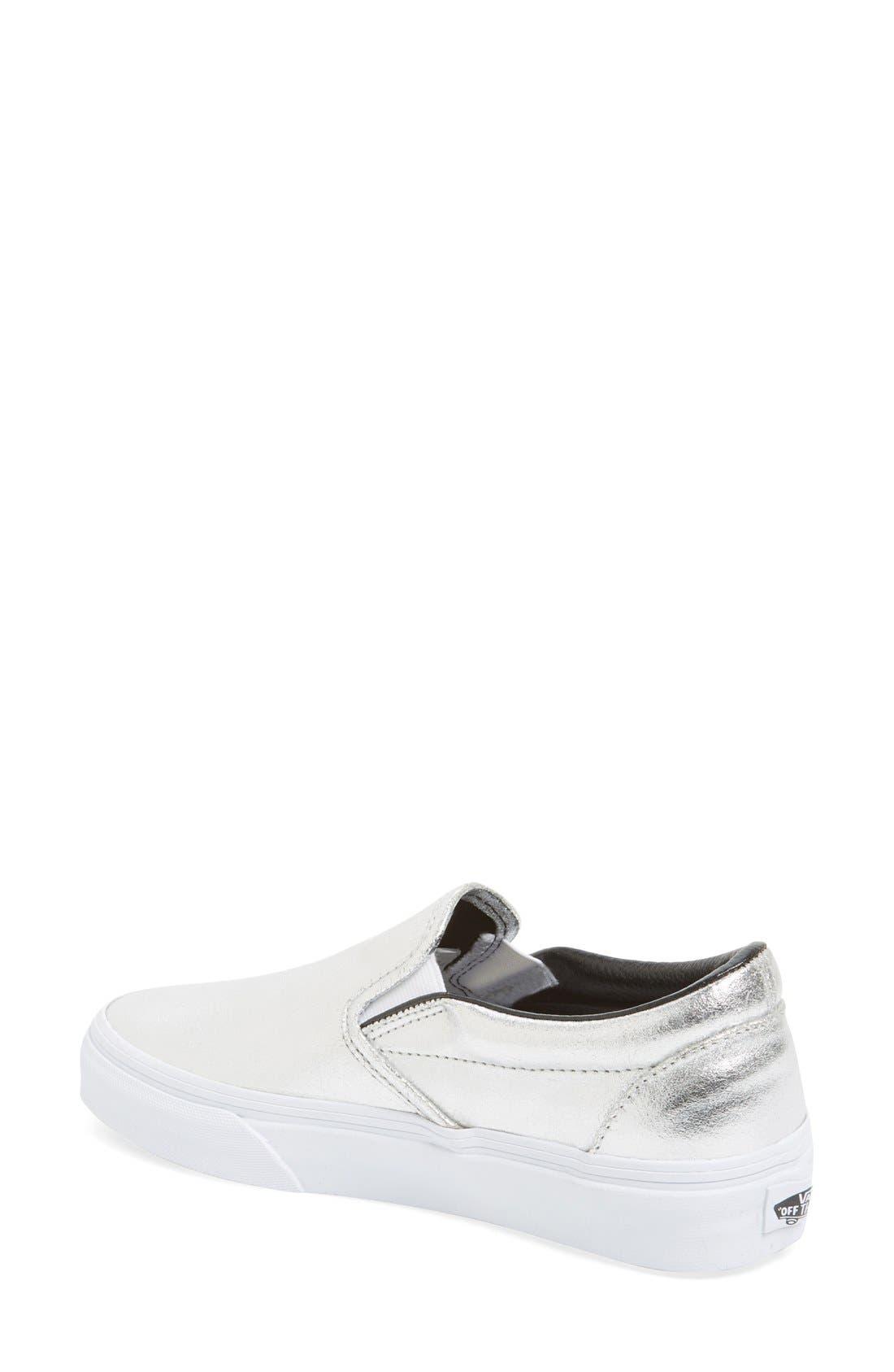 Alternate Image 2  - Vans Metallic Leather Slip-On Sneaker (Women)