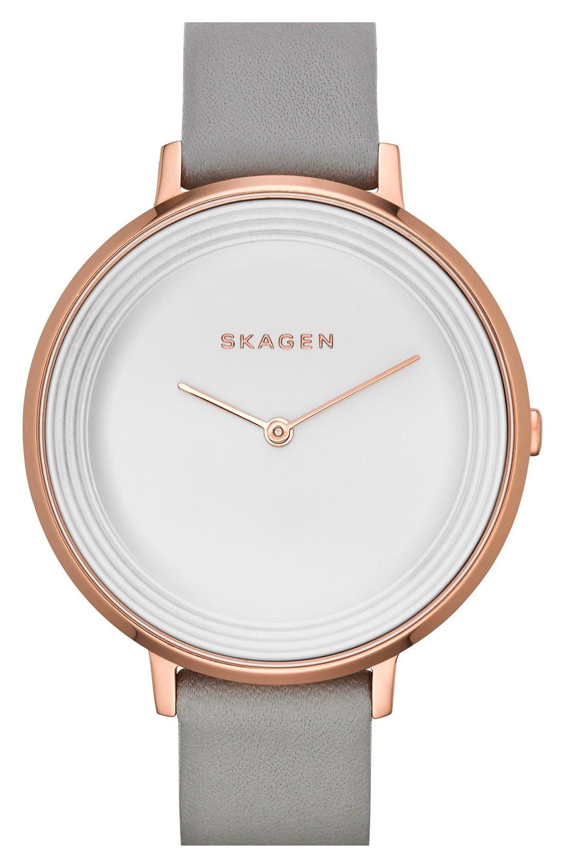 Main Image - Skagen 'Gitte' Round Slim Leather Strap Watch, 38mm