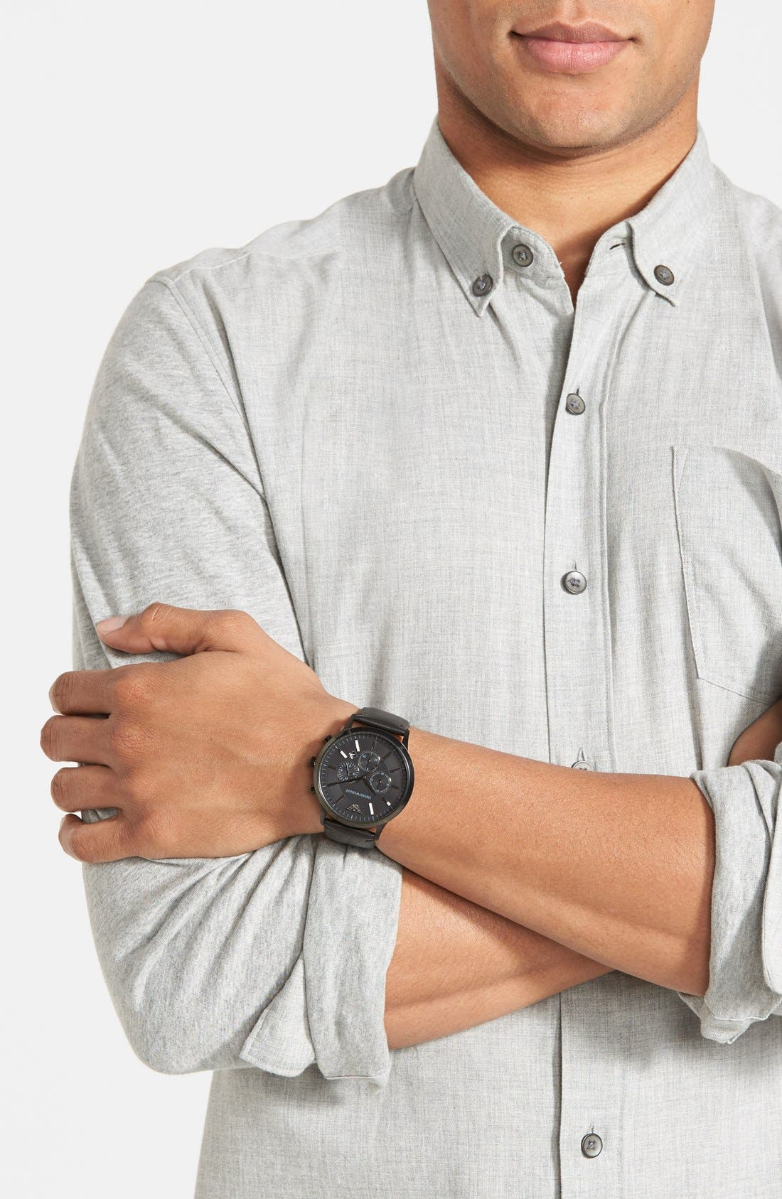 Alternate Image 2  - Emporio Armani Large Round Chronograph Watch, 46mm