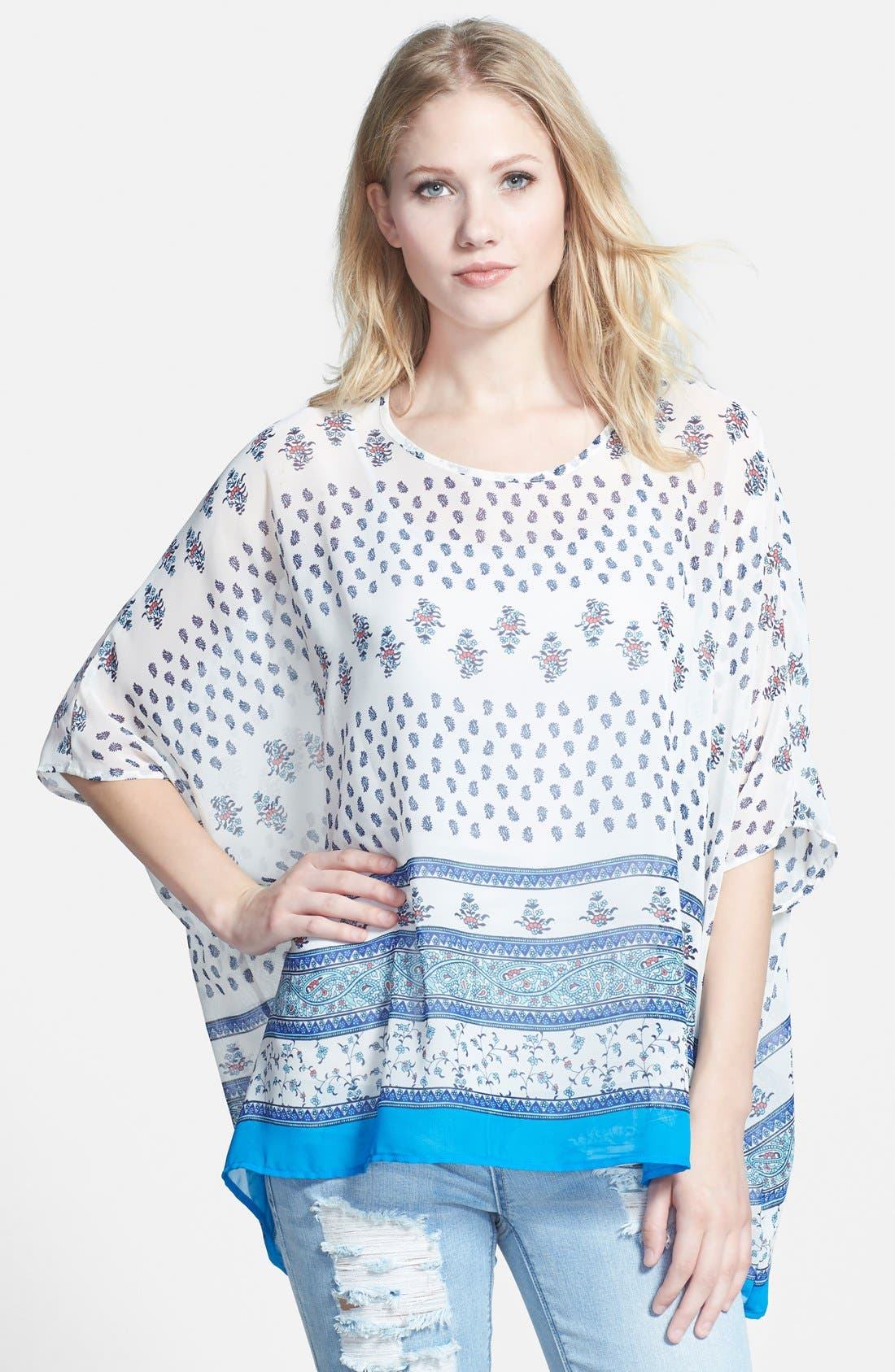 Alternate Image 1 Selected - Bobeau Print Poncho Top