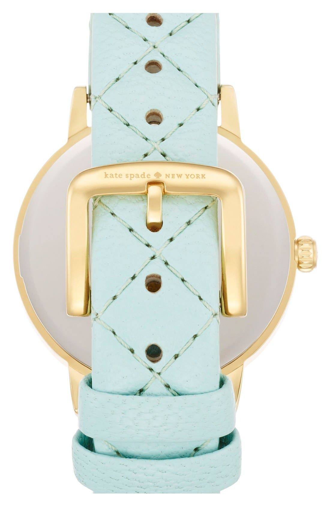 Alternate Image 2  - kate spade new york 'metro' quilted leather strap watch, 34mm