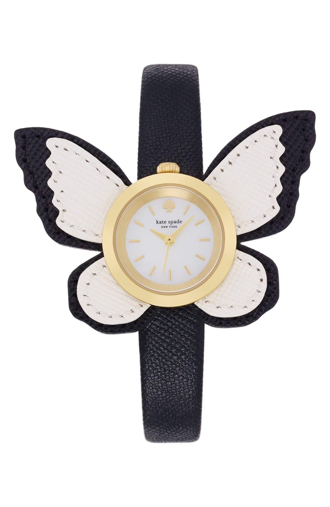 Alternate Image 1 Selected - kate spade new york butterfly leather strap watch, 20mm