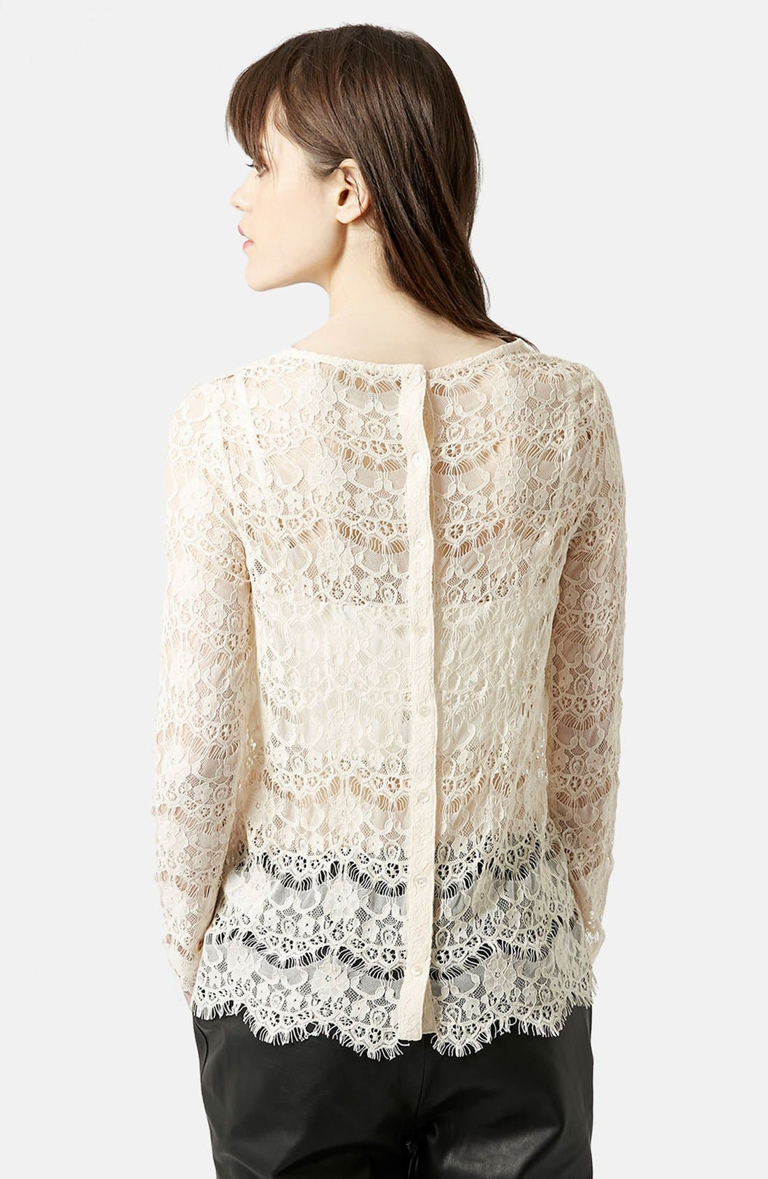 Alternate Image 2  - Topshop Long Sleeve Lace Top