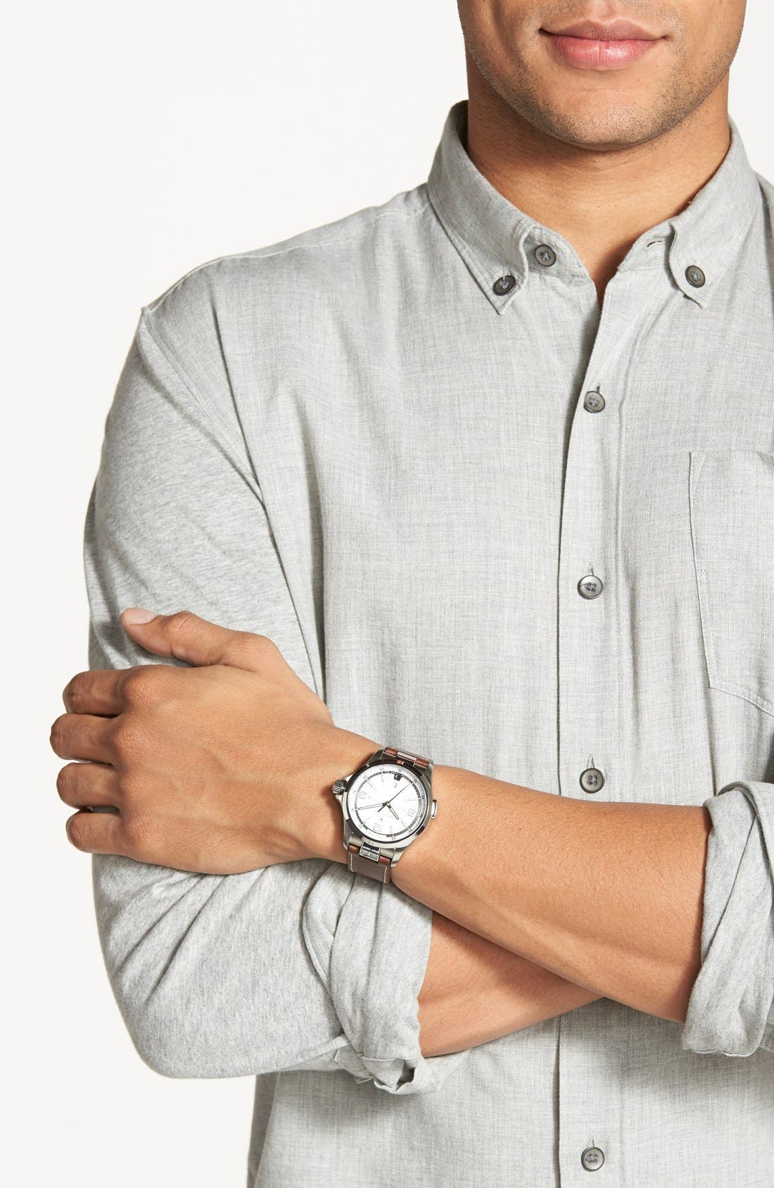 Alternate Image 4  - Victorinox Swiss Army® 'Night Vision' Leather Strap Watch, 42mm
