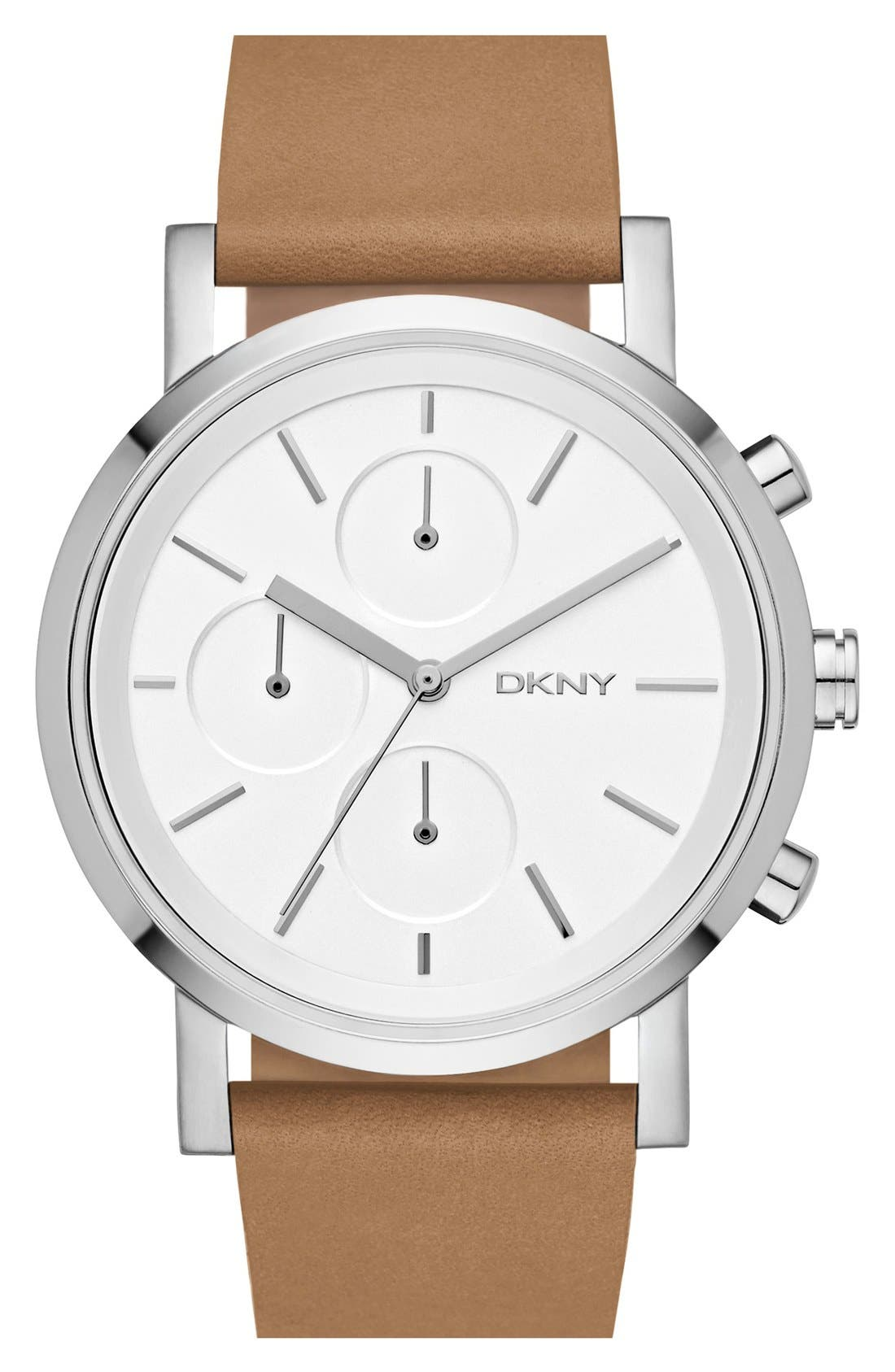 Main Image - DKNY 'Soho' Chronograph Leather Strap Watch, 38mm
