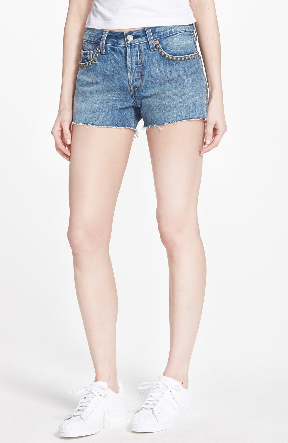 Alternate Image 1 Selected - Levi's® '501®' Cutoff Denim Shorts (Brightest Blue)
