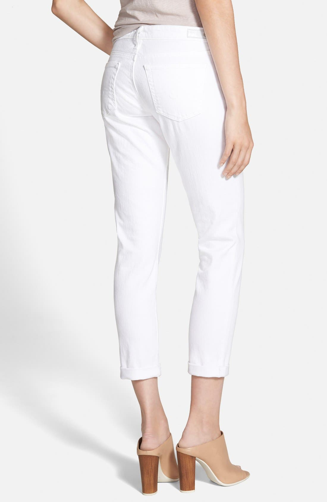Alternate Image 2  - AG 'Stilt' Roll Cuff Skinny Jeans (White)