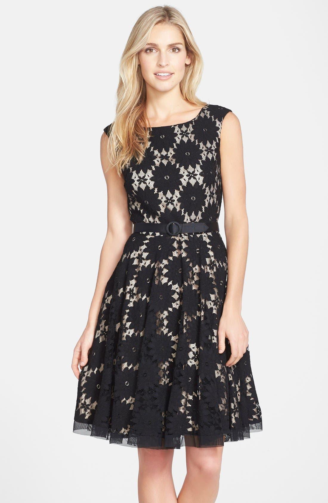 eliza j belted lace fit flare dress regular
