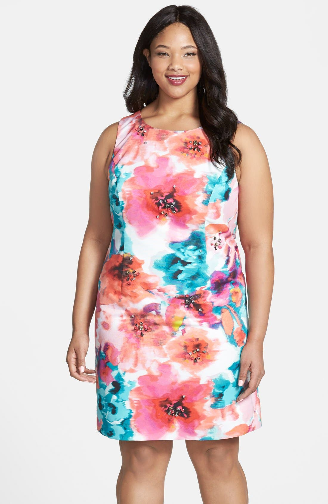 Alternate Image 1 Selected - Eliza J Floral Print Sheath Dress (Plus Size)