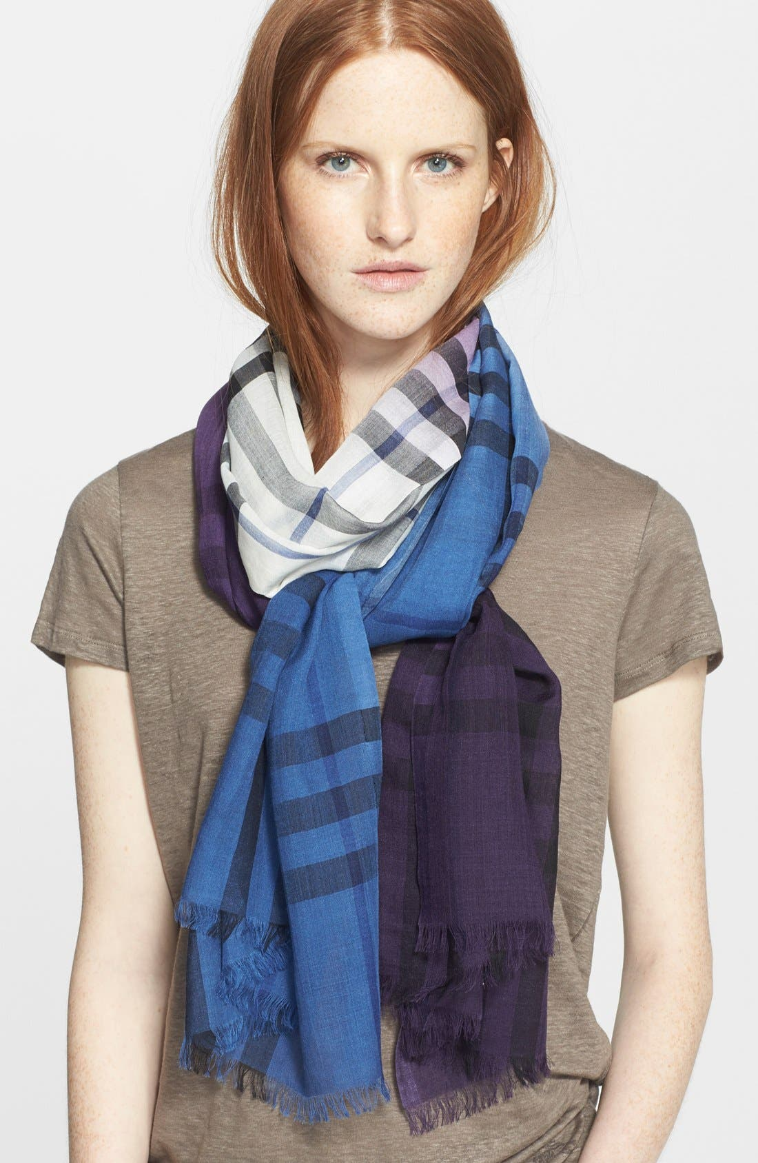 Main Image - Burberry Ombré Check Wool & Silk Scarf