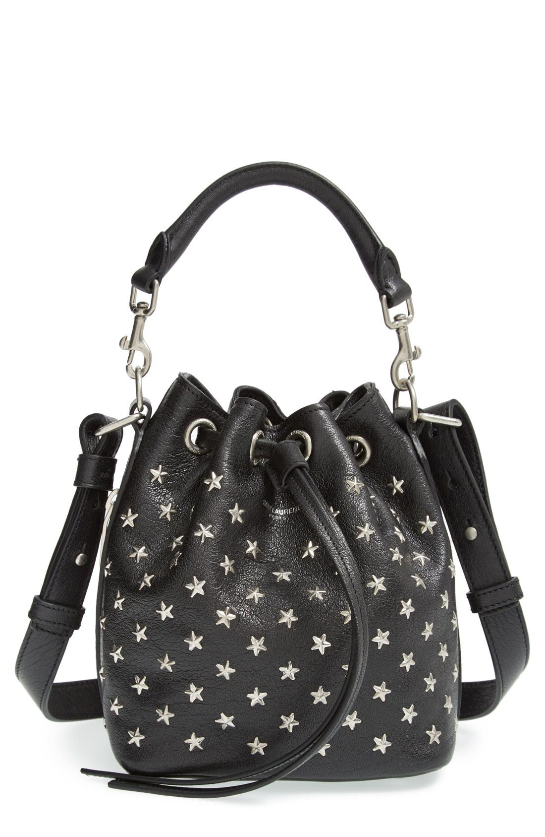 Main Image - Saint Laurent Studded Small Leather Bucket Bag