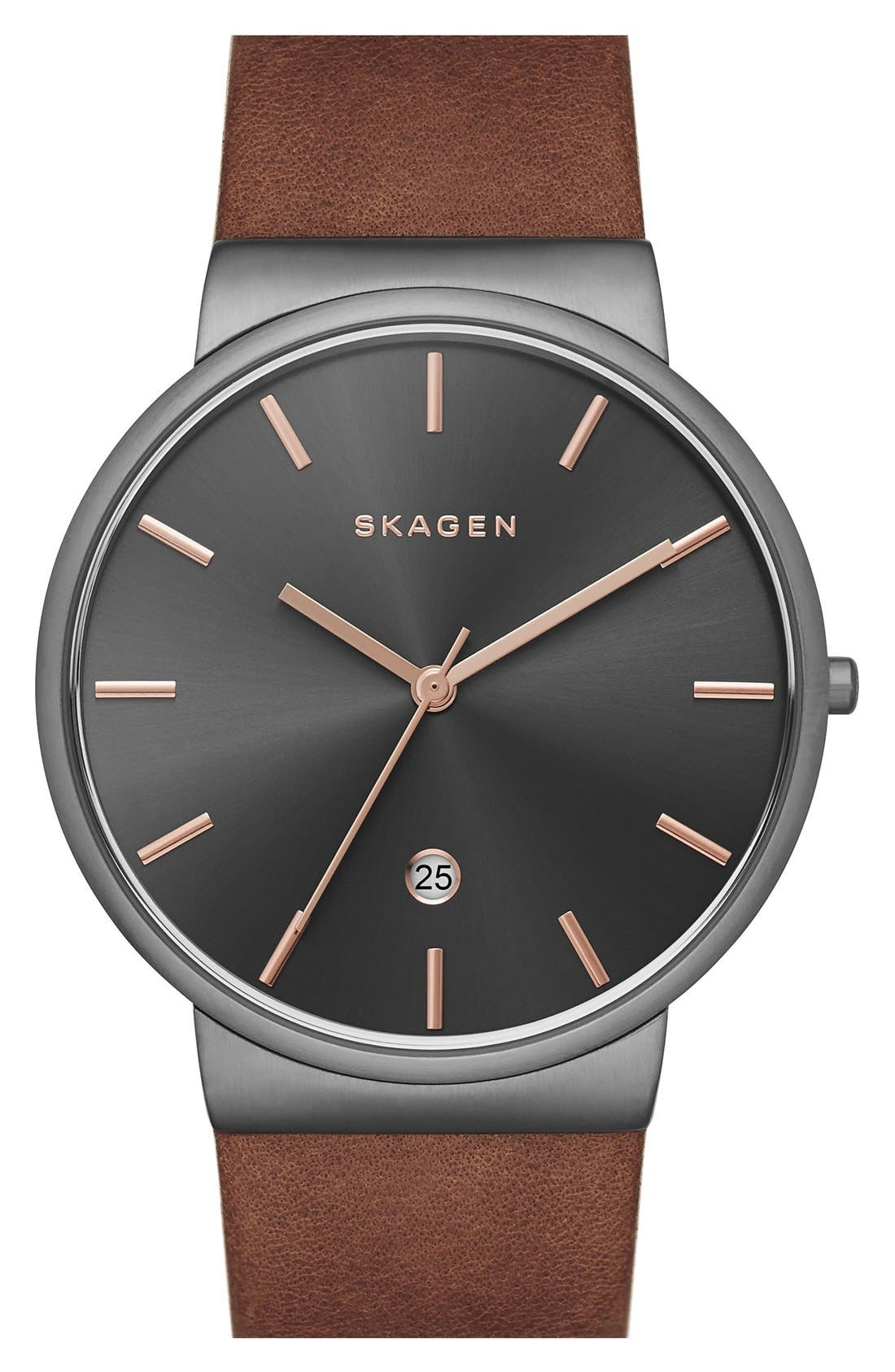 Main Image - Skagen 'Ancher' Leather Strap Watch, 40mm (Nordstrom Exclusive)