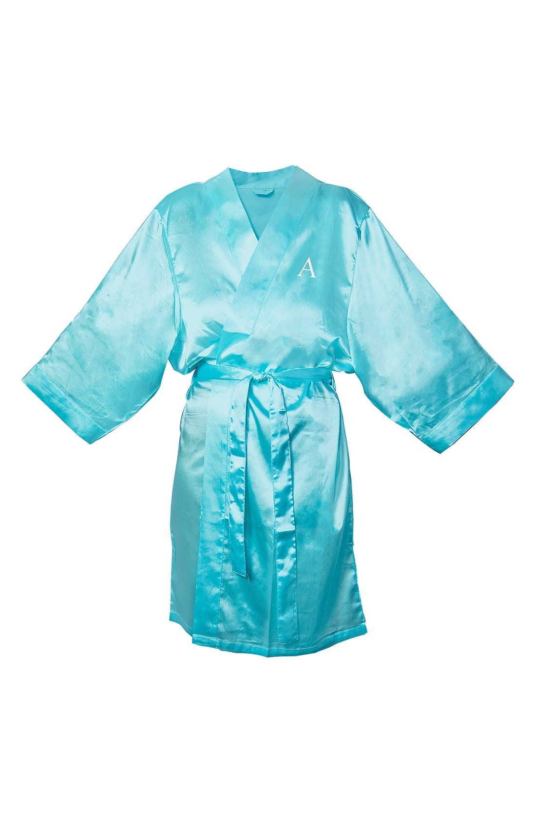Alternate Image 1 Selected - Cathy's Concepts Monogram Satin Robe