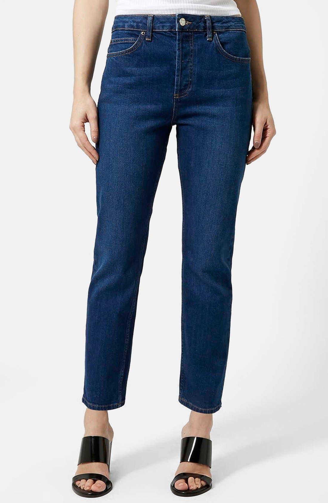 Main Image - Topshop Moto Indigo Girlfriend Jeans (Navy Blue)
