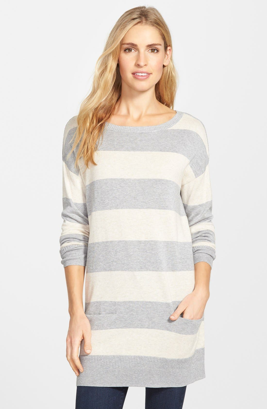 Alternate Image 1 Selected - Caslon® Two-Pocket Knit Tunic (Regular & Petite)