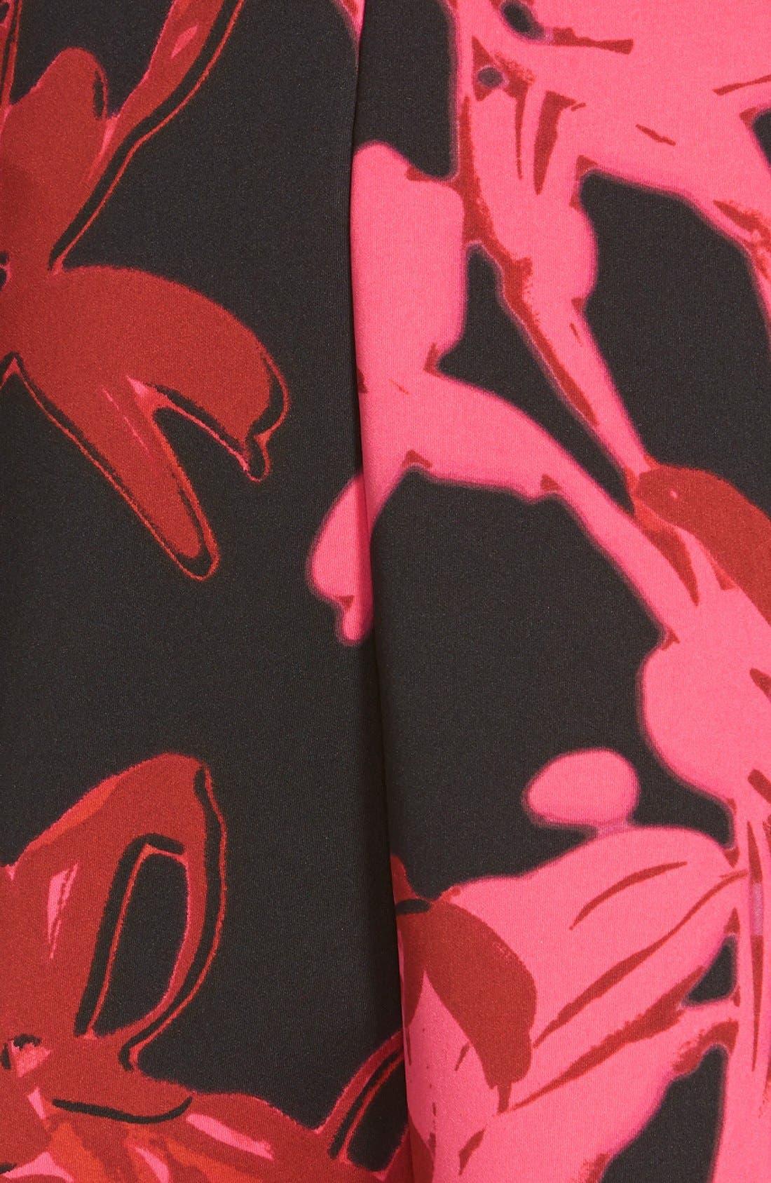 Alternate Image 4  - Taylor Dresses Print Jersey & Scuba Faux Wrap Dress (Regular & Petite)
