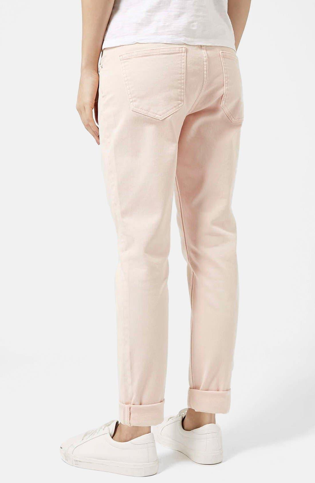 Alternate Image 2  - Topshop Moto 'Lucas' Boyfriend Jeans (Pink)