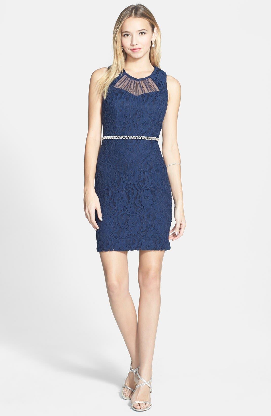 Main Image - Way-In Illusion Neckline Lace Body-Con Dress (Juniors)