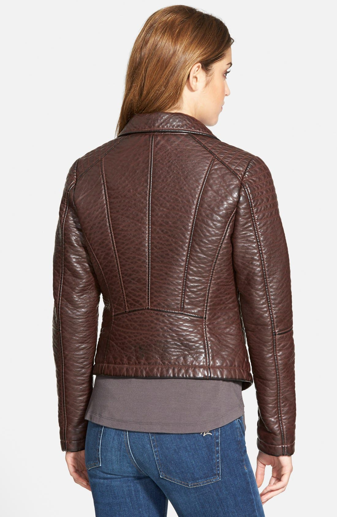 Alternate Image 2  - GUESS Textured Faux Leather Moto Jacket