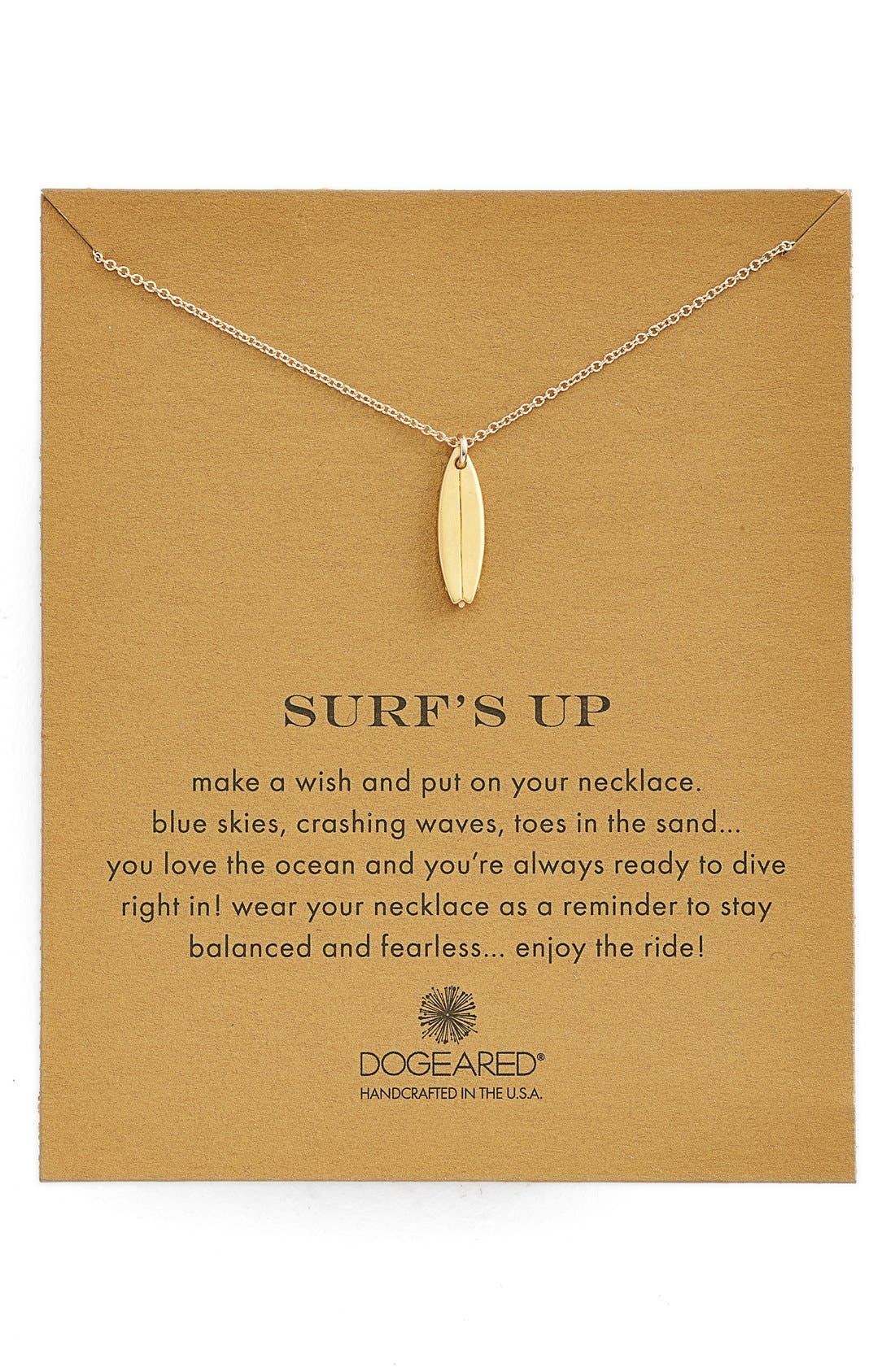 Main Image - Dogeared 'Reminder - Surf's Up' Surfboard Pendant Necklace
