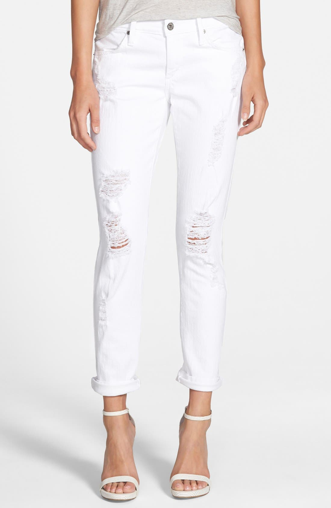 Alternate Image 1 Selected - James Jeans 'Neo Beau' Stretch Boyfriend Jeans (Destroyed White)
